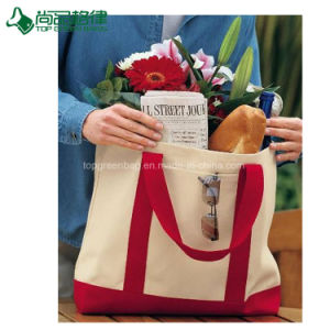 Economical Natural Heavy Cotton Canvas Deluxe Two Tone Shopping Tote Bag pictures & photos