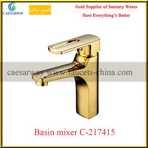 Golden Deck Mounted Brass Bathroom Wash Water Basin Tap for Middle East Market pictures & photos