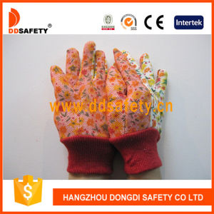 Ddsafety 2017 Flower Cotton Back Mini Dots on Palm Garden Glove pictures & photos