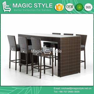 Rattan Bar Chair Wicker Bar Set Outdoor Bar Stool Patio Bar Set Club Chair Coffee Chair (Magic Style) pictures & photos