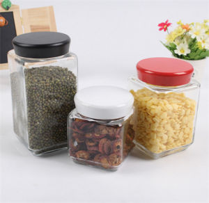 Hot Sell Food Storage Jar Glass Container Kitchenware Glass Jar with Colour Lid pictures & photos