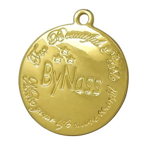 Gold Round Metal Hang Tag Charms with Engraved Logo pictures & photos