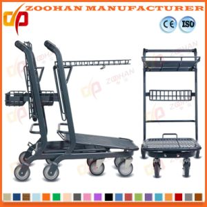 Two Tier Metal Wire Supermarket Handling Shopping Trolley Cart (Zht204) pictures & photos