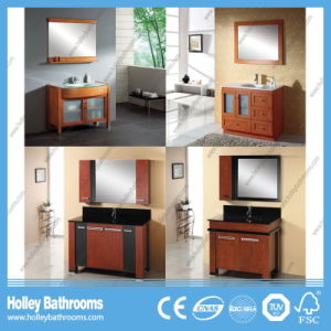 American Style Compact Classic Solid Wood Cambered Solid Wood Bathroom Cabinet (BV180W) pictures & photos