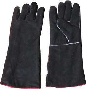 Black Cow Split Leather Welding Work Glove-6524 pictures & photos