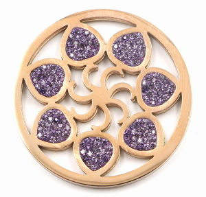 Fashion Interchangeable Flower Coin Plate with Purple Crystal pictures & photos