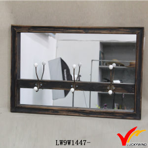 Wall Mounted Black Wooden Mirror Candle Holder pictures & photos