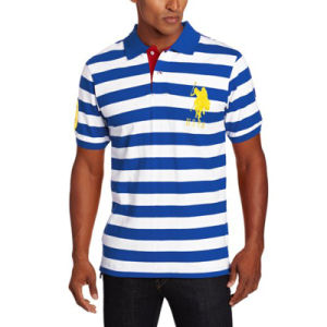 Men′s Cotton Medium-Stripe Pique Polo Shirt pictures & photos
