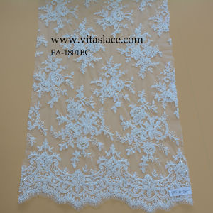 Custom Color Rayon Corded & Beaded Lace Fabric From Factory Fa1801bc