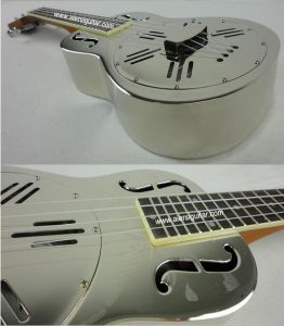 BV/SGS Certificate Supplier---China Aiersi High Quality F Hole Chrome Plated Copper Body Resonator Ukulele with Hawaii Tree Sandblasted Finish pictures & photos