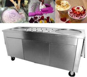 Thai Style with 10 Cooling Tanks 2 Pan Durable Fry Ice Cream Machine pictures & photos