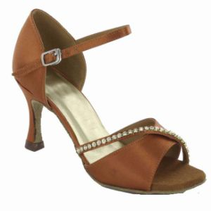 Dark Tan Satin Cha-Cha/Salsa/ Tango/Latin Dance Shoes with Bead for Women pictures & photos