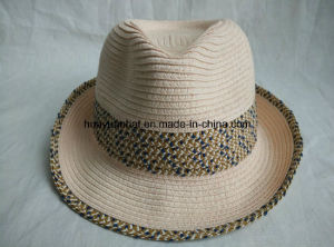Sewn Paper Braid Fedora Straw Hat