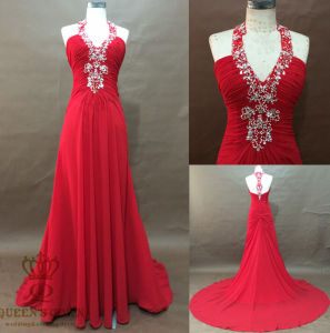 Evening Dress, Halted Neckline Straps with Deliate Beading pictures & photos