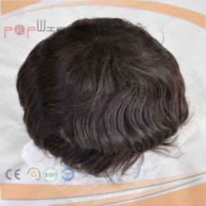 PU Border Human Hair Full Lace Toupee Hairpiece pictures & photos