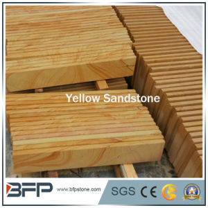 Honed Yellow Wooden Vein Sandstone Slabs/Tiles pictures & photos