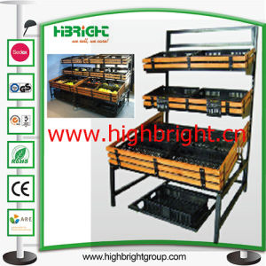 Supermarket Three Tiers Display Shelf Rack for Fresh Vegetables pictures & photos