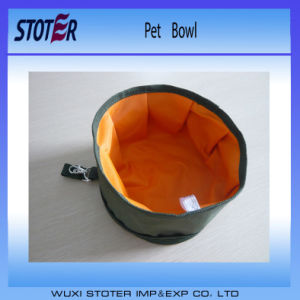 Portable Travelling Use Folding Type Polyester Pet Food Dog Bowl