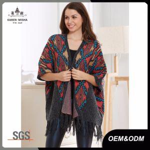 Lady Fashion Tassel Cardigan Sweater Shawl Poncho pictures & photos