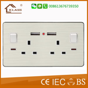 Brushed Aluminum High Quality Double Switched Socket with Neon pictures & photos