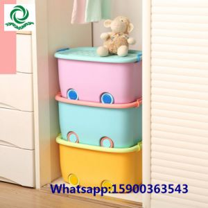 Children′s Cartoon Plastic Storage Box Cloth Lockers with Lid pictures & photos
