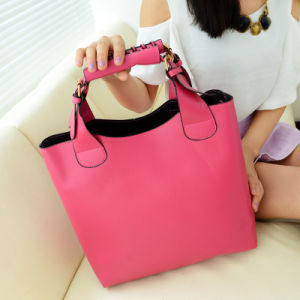 New European and American Fashion Women′s Bag Bucket-Type Package Bag PU Leather Portable Shoulder Bag pictures & photos