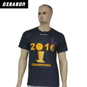 OEM Custom Wholesale Polyester Sublimation Printing Black Men′s T-Shirt pictures & photos