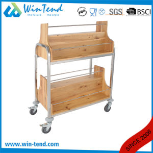 fashion Design Vertical Style Wooden Wine Trolley for Hotel Serving pictures & photos