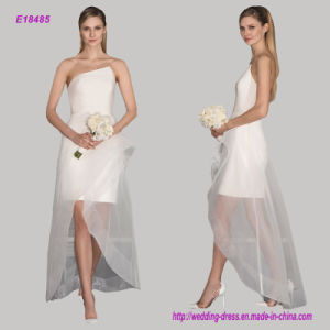 Strapless Satin Short Bodice Bridalmaids Dress with Lace up Skirt pictures & photos