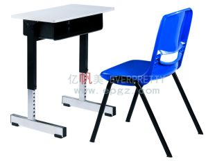 Cheap School Furniture, Adjustable Student Wood Study Table Desk ,Plastic Chair pictures & photos