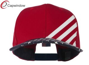 Red Cotton Twill Flat Bill Snapback USA Flag Cap (01060) pictures & photos