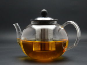 1200ml Hand Made Green&Flower Teapot with Steel Lid and Infuser