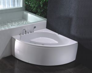 Luxury Corner Skirted Bath Tub with Jets Whirlpool Massage and Faucet Shower pictures & photos