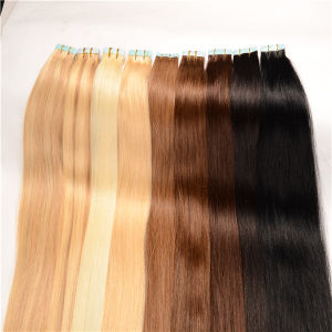 Tape in Human Hair Extensions Wavy Skin PU Weft Hair Extensions Blonde Ombre Tape in Human Hair Extensions pictures & photos