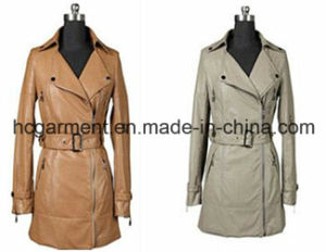 Fashion Long PU Jacket; for Women/Lady, Leather /Motorcycle Jackets pictures & photos