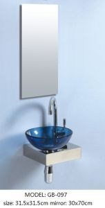 Tempered Glass Basin Vanity with Silver Mirror pictures & photos