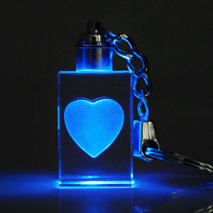 Crystal Glass 3D Laser Keychain for Gift pictures & photos