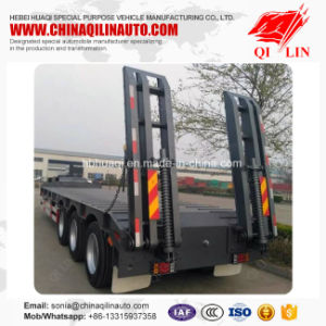 Best Selling 3 Axles Low Bed Semi Trailer with Hydraulic Ladder pictures & photos