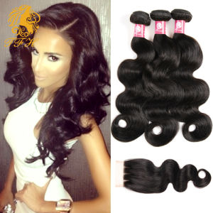 Peruvian Virgin Hair with Closure Peruvian Body Wave 3 Bundles with a Middle Part Body Wave Lace Closure pictures & photos
