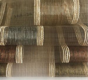 China Manufacturer Chenille Striped with Sheer Voile Organza Curtain Fabrics for Upholstery pictures & photos
