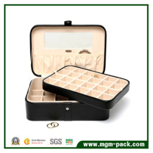 Simple PU Leather Cosmetic Jewelry Storage Wooden Box pictures & photos
