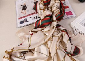 Wholesale Cheap Printed Chiffon Silk Shawls Square Satin Scarf pictures & photos