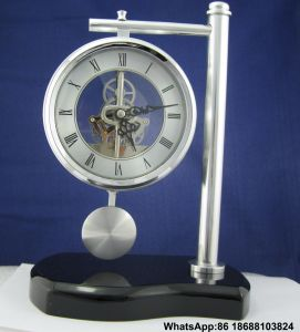 Brass Corporate Anniversary Gifts Pendulum Wood Desk Clock