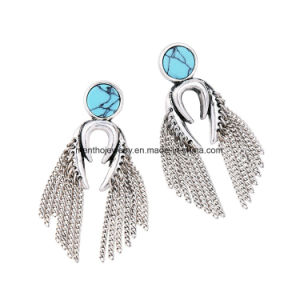 New Retro Long Alloy Chain Tassel Earrings Synthetic Stone Studded Fashion Jewelry pictures & photos