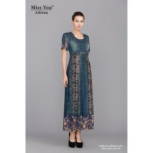 Miss You Ailinna 102016-2 Washed Denim with Net Cloth Printed Long Dress Distributor pictures & photos