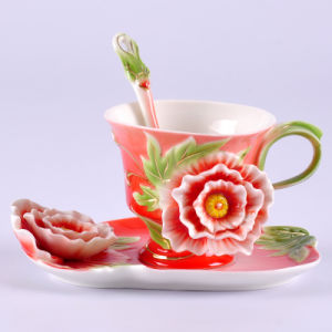 Unique Franz Porcelain Peony Cup and Saucer Set (AS-01324)