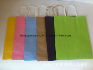 Eco Printed Cheap Recycled Colorful Kraft Paper Bag for Shopping pictures & photos