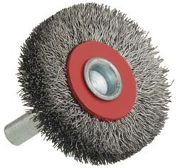 Shaft Wheel Brushes with High Efficiency (Crimped wire, 38mm, 50mm, 63mm, 75mm, 100mm diameter)