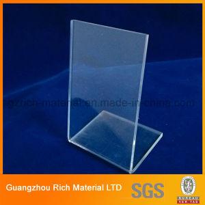 Transparent Brochure Menu Stand Acrylic PMMA Plastic Display Menu Holder Plexiglass Stand pictures & photos