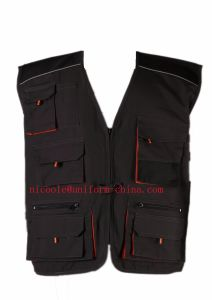 Grey Black Mens Work Security Vest with Multi-Pocket pictures & photos